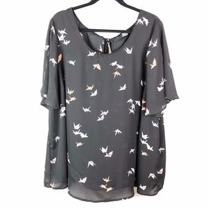 Torrid Sheer Paper Crane Print Bow Back Blouse